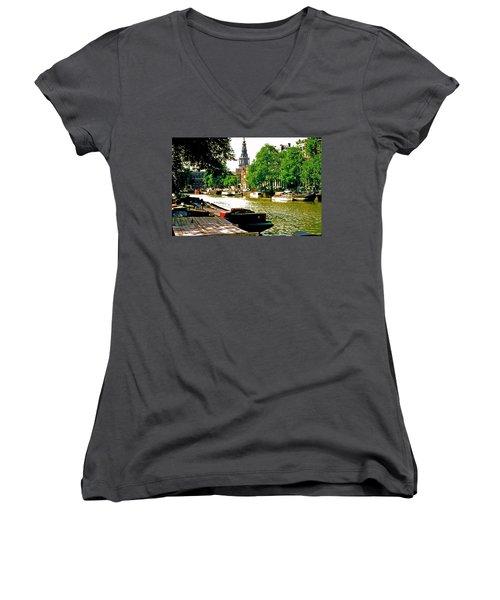 Women's V-Neck T-Shirt (Junior Cut) featuring the photograph Amsterdam by Ira Shander