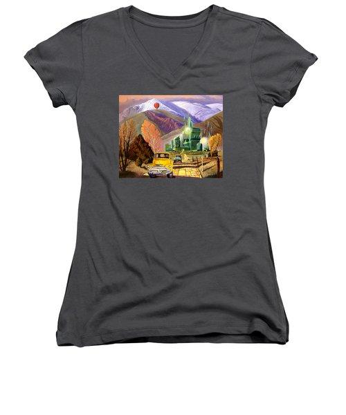Trucks In Oz Women's V-Neck T-Shirt (Junior Cut) by Art James West