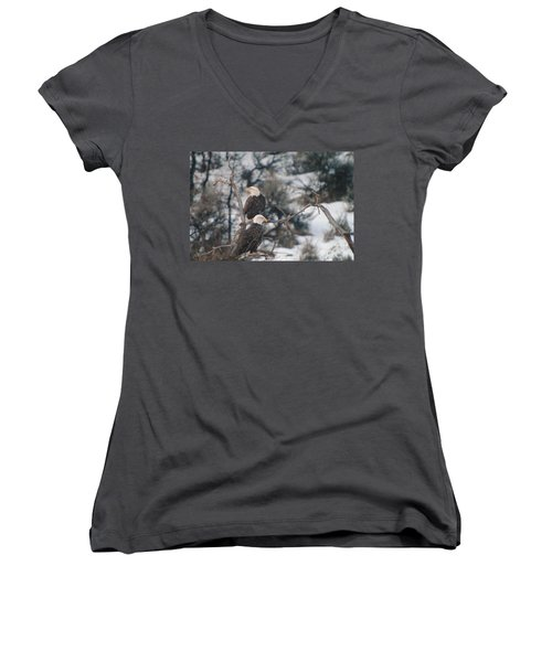 An Eagle Pair  Women's V-Neck (Athletic Fit)
