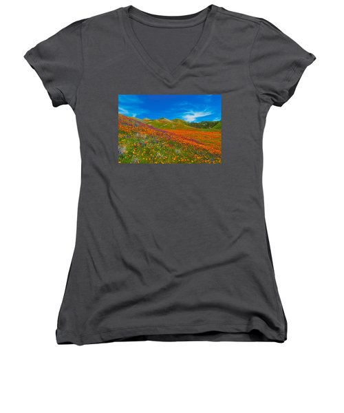 An Ocean Of Orange  Women's V-Neck T-Shirt