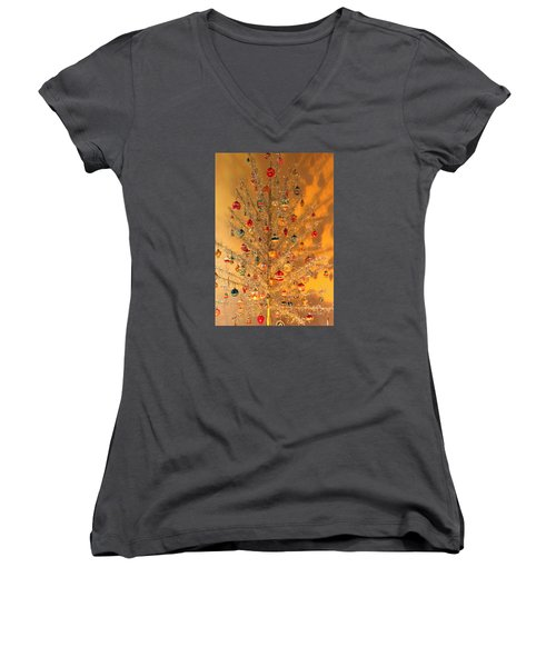 An Old Fashioned Christmas - Aluminum Tree Women's V-Neck T-Shirt (Junior Cut) by Suzanne Gaff