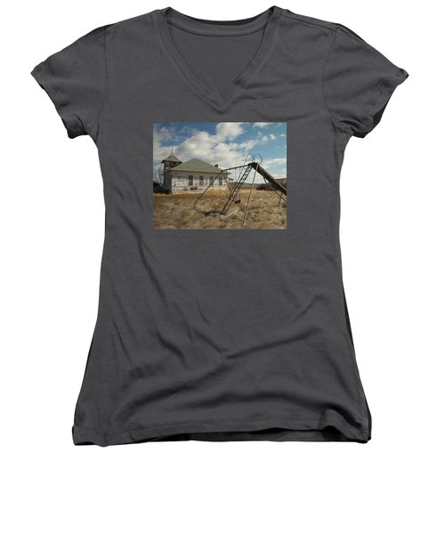 An Old School Near Miles City Montana Women's V-Neck (Athletic Fit)