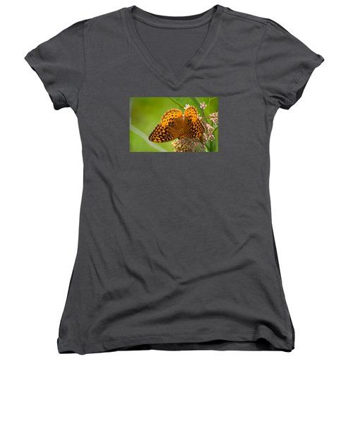 Great Spangled Fritillary Women's V-Neck T-Shirt