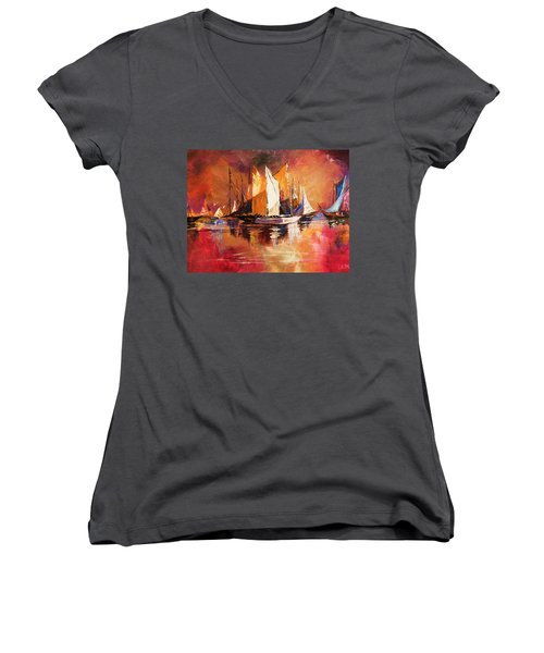 Anchored At Sunset Women's V-Neck T-Shirt