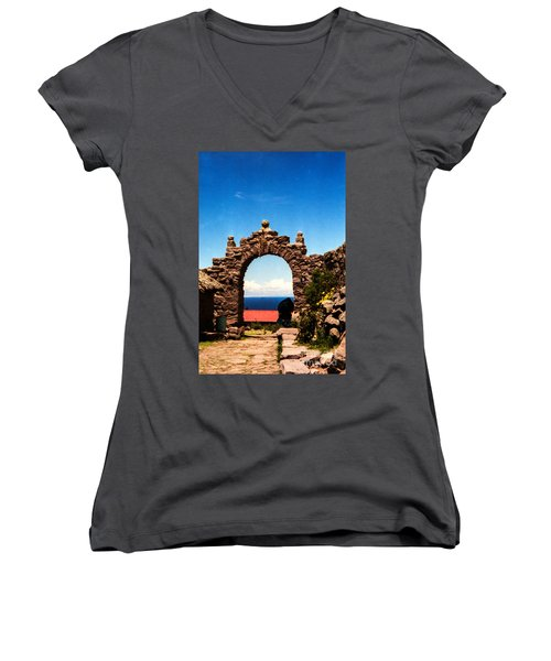 Women's V-Neck T-Shirt (Junior Cut) featuring the photograph Ancient Portal by Suzanne Luft