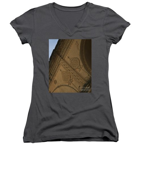 Women's V-Neck T-Shirt (Junior Cut) featuring the photograph Ancient Wall by Mini Arora
