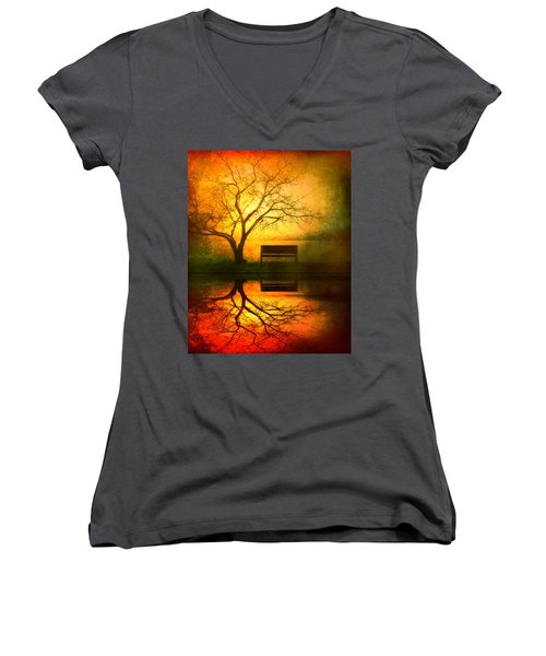And I Will Wait For You Until The Sun Goes Down Women's V-Neck T-Shirt (Junior Cut)