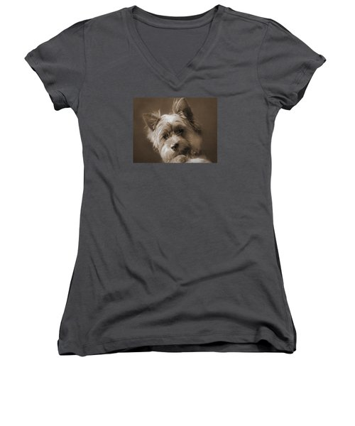 Women's V-Neck T-Shirt (Junior Cut) featuring the photograph And The Little Princess by I'ina Van Lawick
