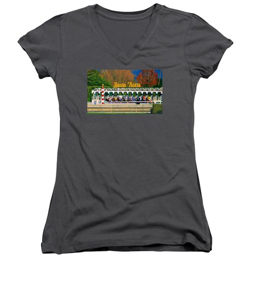 And They're Off At Santa Anita Women's V-Neck T-Shirt