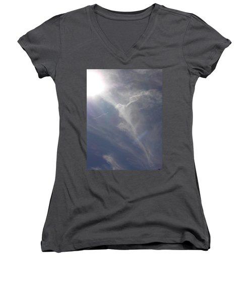 Angel Holding Light Women's V-Neck T-Shirt (Junior Cut) by Deborah Moen
