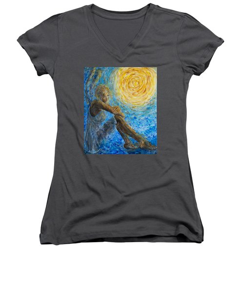 Angel Moon II Women's V-Neck (Athletic Fit)