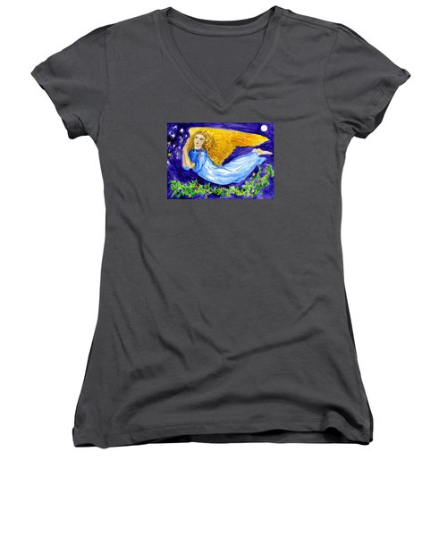 Angel Of The Skies Women's V-Neck (Athletic Fit)