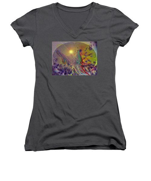 Angel Taking Flight Women's V-Neck T-Shirt (Junior Cut) by Alison Caltrider