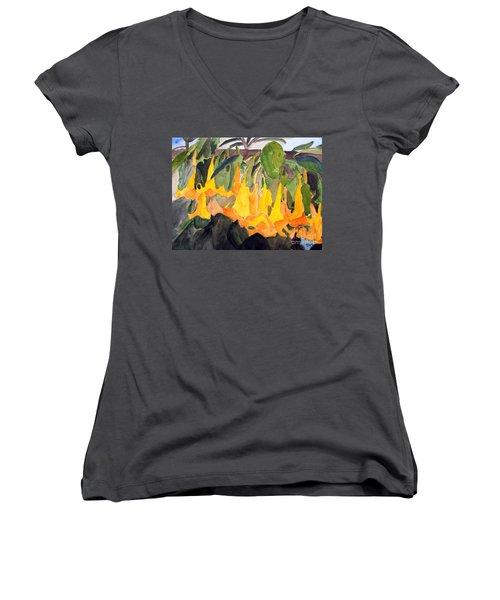 Angel Trumpets Women's V-Neck T-Shirt (Junior Cut) by Sandy McIntire