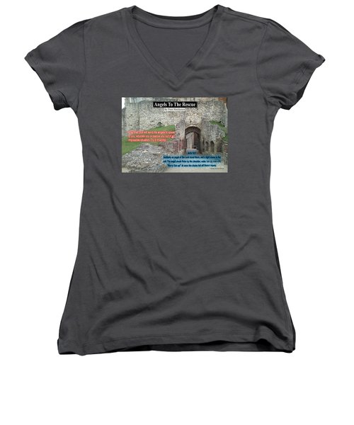 Angels To The Rescue Women's V-Neck T-Shirt