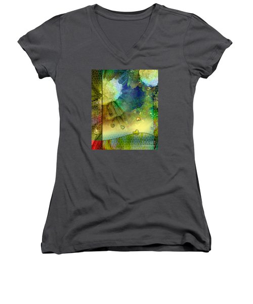 Women's V-Neck T-Shirt (Junior Cut) featuring the painting Angiospermae by Allison Ashton