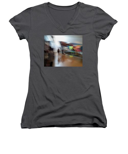 Women's V-Neck T-Shirt (Junior Cut) featuring the photograph Angularity by Alex Lapidus