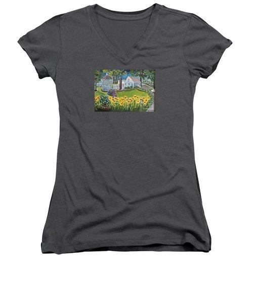 Annie's Summer Cottage Women's V-Neck T-Shirt (Junior Cut) by Rita Brown