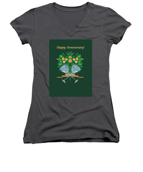 Women's V-Neck T-Shirt (Junior Cut) featuring the digital art Anniversary Bouquet by Christine Fournier