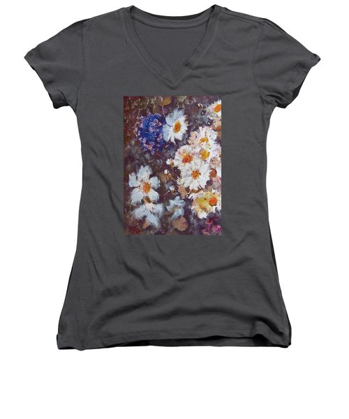 Women's V-Neck T-Shirt (Junior Cut) featuring the painting Another Cluster Of Daisies by Richard James Digance