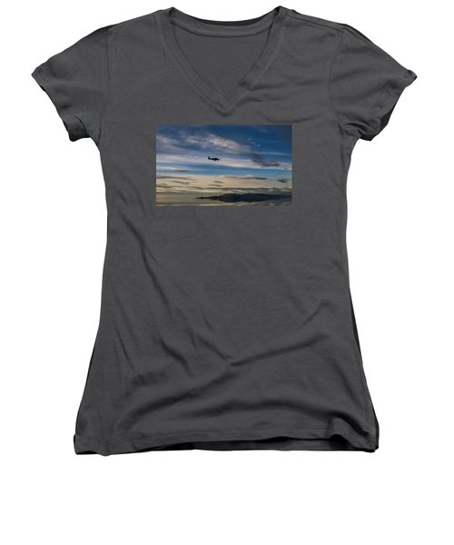 Women's V-Neck T-Shirt (Junior Cut) featuring the photograph Antelope Island - Lone Airplane by Ely Arsha