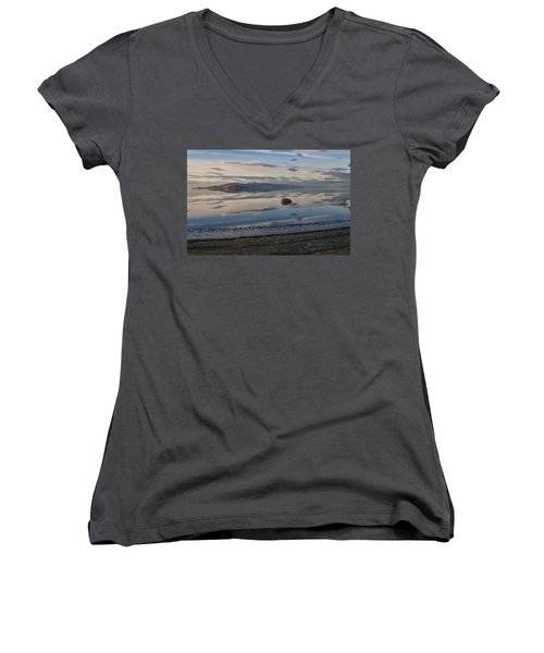 Women's V-Neck T-Shirt (Junior Cut) featuring the photograph Antelope Island - Lone Tumble Weed by Ely Arsha