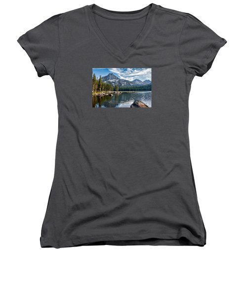 Anthony Lake Women's V-Neck T-Shirt (Junior Cut) by Robert Bales