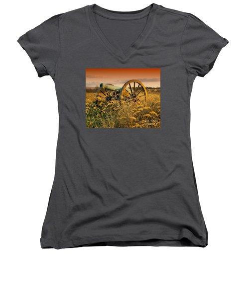 Women's V-Neck T-Shirt (Junior Cut) featuring the photograph Antietam Maryland Cannon Battlefield Landscape by Paul Fearn