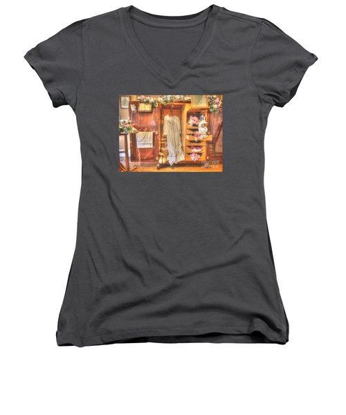 Antique Armoire Women's V-Neck T-Shirt (Junior Cut) by Liane Wright