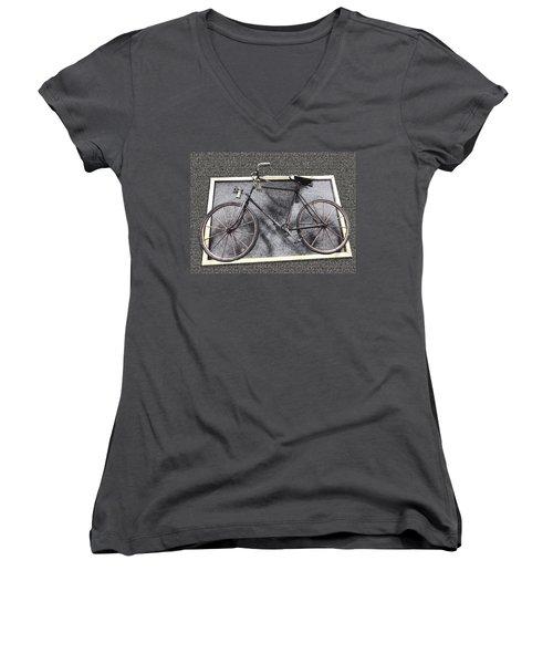 Antique Bicycle  Women's V-Neck T-Shirt (Junior Cut) by Joyce  Wasser