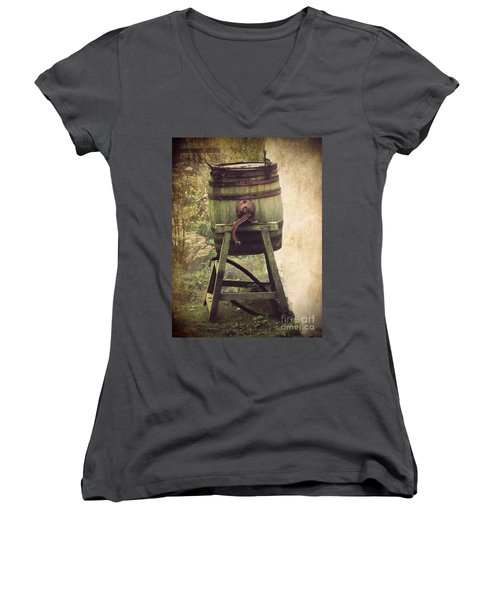 Women's V-Neck T-Shirt (Junior Cut) featuring the photograph Antique Butter Churn by Linsey Williams