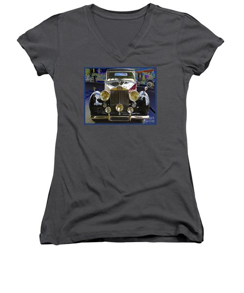 Antique Rolls Royce Women's V-Neck T-Shirt (Junior Cut) by Victoria Harrington