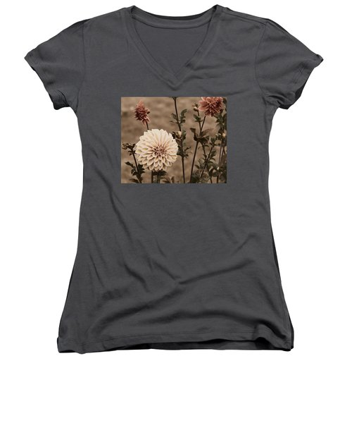 Women's V-Neck T-Shirt (Junior Cut) featuring the photograph Antiqued Dahlias by Jeanette C Landstrom