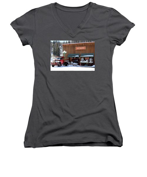 Antiques In The Mountains Women's V-Neck T-Shirt (Junior Cut) by Fiona Kennard