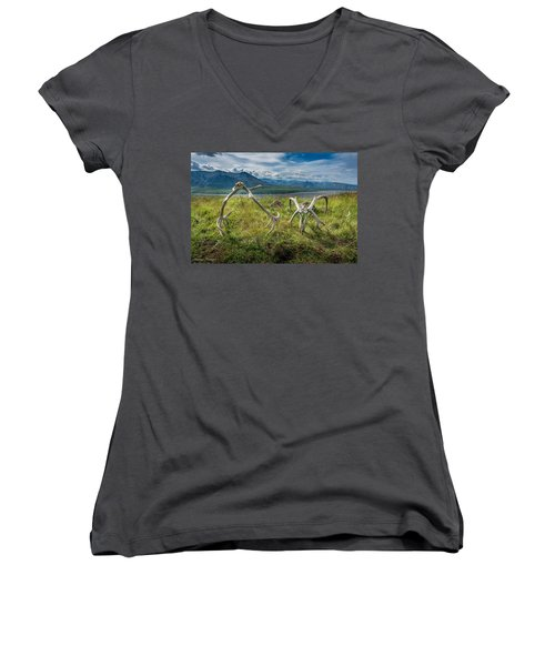 Antlers On The Hill Women's V-Neck T-Shirt (Junior Cut) by Andrew Matwijec