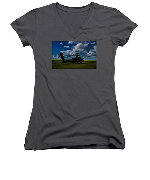 Apache Gun Ship Women's V-Neck T-Shirt (Junior Cut) by Martin Newman
