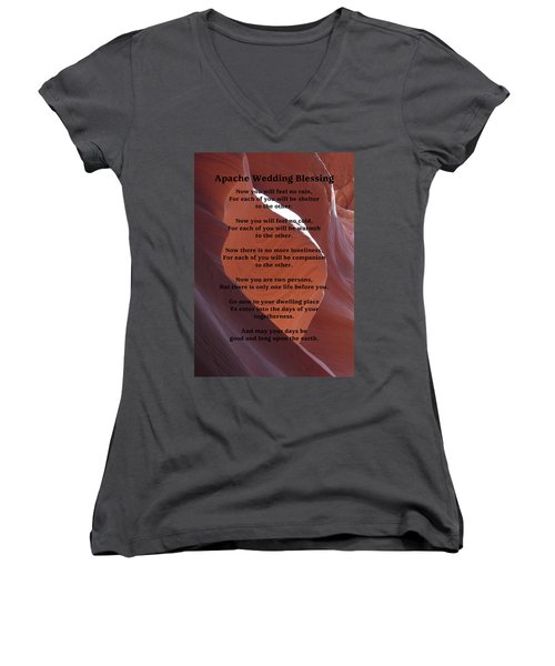 Apache Wedding Blessing On Canyon Photo Women's V-Neck T-Shirt (Junior Cut) by Marcia Socolik