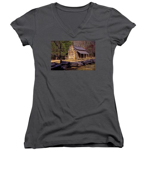 Appalachian Homestead Women's V-Neck T-Shirt (Junior Cut) by Paul W Faust -  Impressions of Light