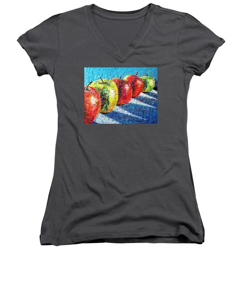 Women's V-Neck T-Shirt (Junior Cut) featuring the painting Apple A Day by Susan DeLain