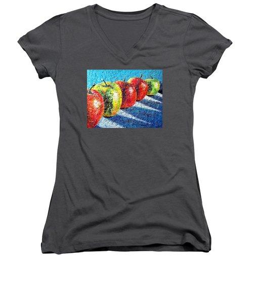 Apple A Day Women's V-Neck T-Shirt (Junior Cut)