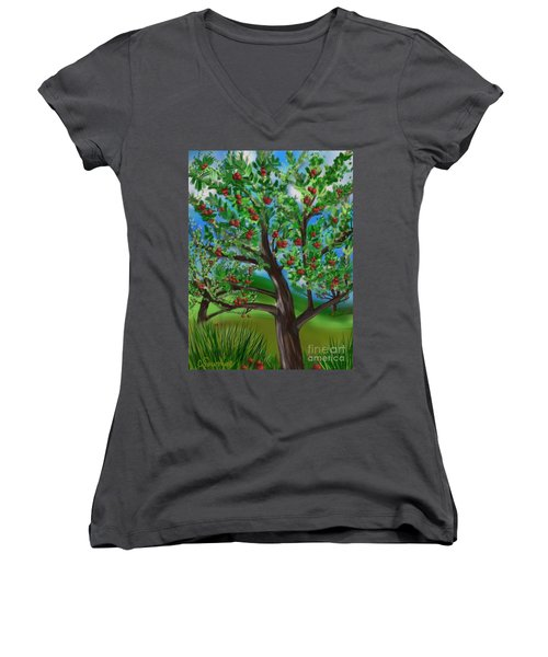 Apple Acres Women's V-Neck T-Shirt (Junior Cut) by Christine Fournier
