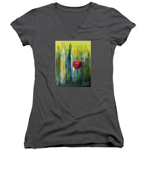 Women's V-Neck T-Shirt (Junior Cut) featuring the painting Apple by Arturas Slapsys