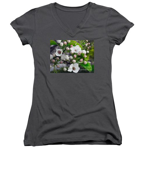 Women's V-Neck T-Shirt (Junior Cut) featuring the photograph Apple Blossoms In Oil by Nina Silver