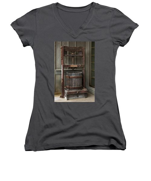 Women's V-Neck featuring the photograph Apple Press by Dale Kincaid