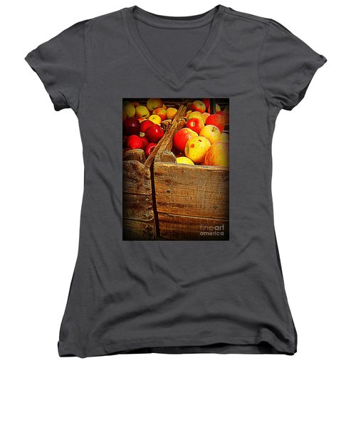 Women's V-Neck T-Shirt (Junior Cut) featuring the photograph Apples In Old Bin by Miriam Danar