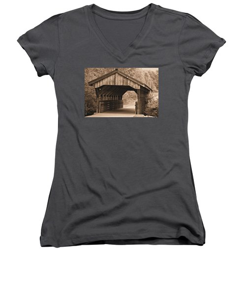 Arabia Mountain Covered Bridge Women's V-Neck (Athletic Fit)