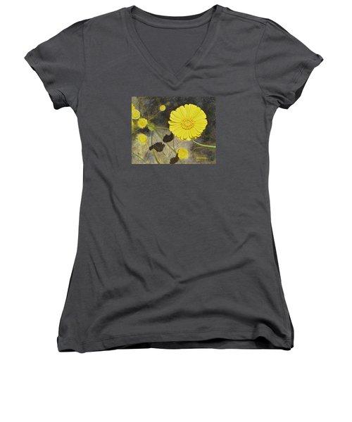 Arboretum Wild Flower  Women's V-Neck T-Shirt (Junior Cut) by Donna  Manaraze