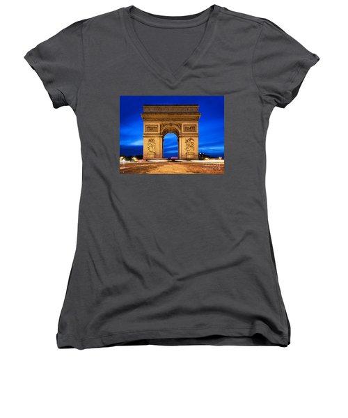 Arc De Triomphe At Night Paris France  Women's V-Neck T-Shirt