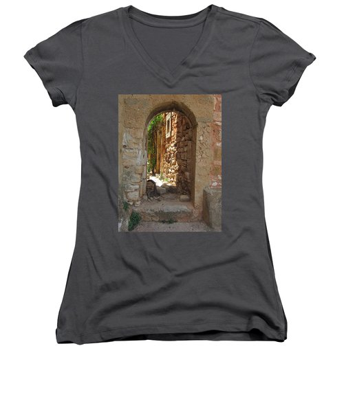 Women's V-Neck T-Shirt (Junior Cut) featuring the photograph Archway by Pema Hou