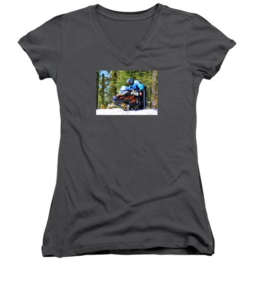 Arctic Cat Snowmobile Women's V-Neck (Athletic Fit)